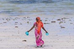 Muslim Woman on the beach Royalty Free Stock Photos