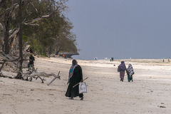 Muslim Woman on the beach. Women with colorful clothes wolking at  Michanwi Pingwe Beach in Zanzibar , Tanzania . Africa Stock Images