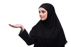 The muslim woman in black dress isolated on white Royalty Free Stock Photo
