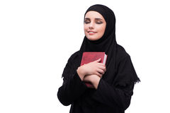 The muslim woman in black dress isolated on white Royalty Free Stock Images