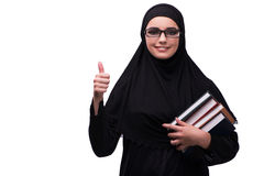 The muslim woman in black dress isolated on white Stock Images