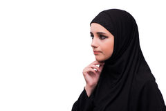 The muslim woman in black dress isolated on white Royalty Free Stock Photos