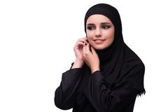 The muslim woman in black dress isolated on white Stock Image
