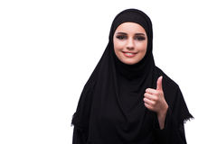 The muslim woman in black dress isolated on white Royalty Free Stock Photography