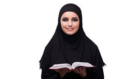 The muslim woman in black dress isolated on white Stock Photo