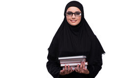 The muslim woman in black dress isolated on white Stock Photos