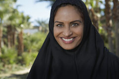 Muslim Woman In Black Headscarf Stock Photos