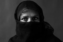 Muslim woman black and white stock image