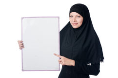 Muslim woman with blank board. On white Royalty Free Stock Images