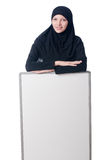 Muslim woman with blank board Royalty Free Stock Photo