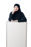 Muslim woman with blank board Royalty Free Stock Photography