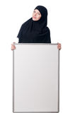Muslim woman with blank board Royalty Free Stock Image