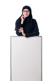 Muslim woman with blank board Stock Images