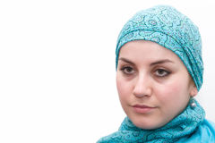 Muslim woman in blue Stock Images