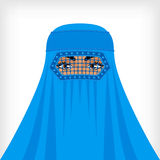 Muslim woman in blue burqa Royalty Free Stock Photo