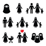 Muslim woman in burqa or burkha, bourkha, burka - family Stock Images