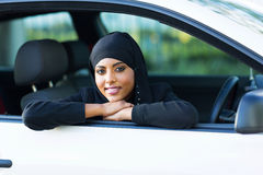Muslim woman car Stock Photography