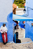Muslim woman in Chefchaouen, Morocco Royalty Free Stock Images