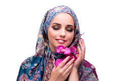 The muslim woman in fashion concept isolated on white Royalty Free Stock Images