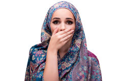 The muslim woman in fashion concept isolated on white Royalty Free Stock Photos