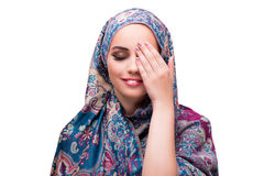 The muslim woman in fashion concept isolated on white Stock Photography
