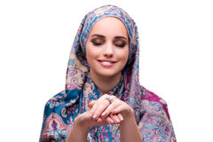 The muslim woman in fashion concept isolated on white Royalty Free Stock Photo