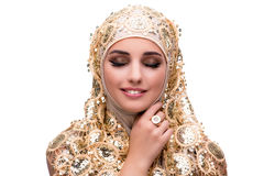 The muslim woman in fashion concept isolated on white Stock Image