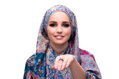 The muslim woman in fashion concept isolated on white Royalty Free Stock Image