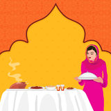 Muslim Woman with food for Iftar Party. Royalty Free Stock Images