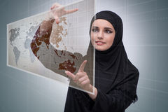 The muslim woman in global travel concept Stock Image
