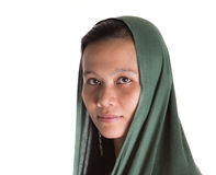 Muslim Woman With Green Headscar IX Royalty Free Stock Photos