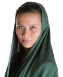 Muslim Woman With Green Headscar XII Stock Photo