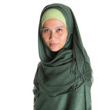 Muslim Woman In Green Hijab III Royalty Free Stock Photos