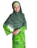 Muslim Woman In Green Hijab V Royalty Free Stock Photography