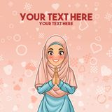 Muslim woman greeting with welcoming hands. Young muslim woman wearing hijab veil smiling greeting with welcoming gesture hands put together, cartoon character royalty free illustration