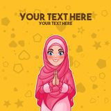 Muslim woman greeting with welcoming hands. Young muslim woman wearing hijab veil smiling greeting with welcoming gesture hands put together, cartoon character stock illustration