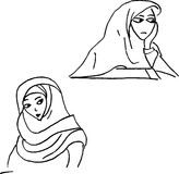 Muslim woman hand drawn sketches. Muslim woman outline style, vector sketches hand drawn illustration vector Royalty Free Stock Photo
