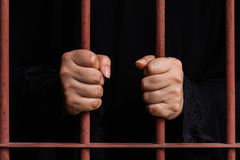 Muslim woman hand in jail royalty free stock photos