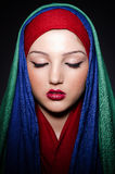 Muslim woman with headscarf. In fashion concept Royalty Free Stock Photos