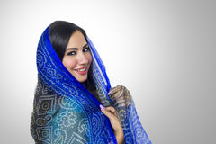 Muslim woman with headscarf in fashion concept Stock Photos