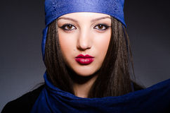 The muslim woman with headscarf in fashion concept Stock Photos