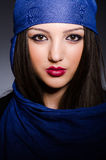 The muslim woman with headscarf in fashion concept Stock Photography