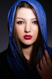 The muslim woman with headscarf in fashion concept Royalty Free Stock Image
