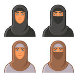 Muslim Woman in Hijab Avatars Set. Vector Royalty Free Stock Photography