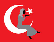 Muslim woman with a Turkish flag stock illustration