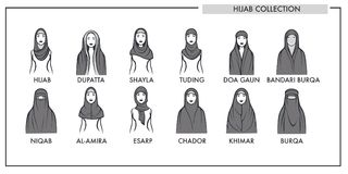 Muslim woman hijab type models collection vector isolated female Islamic fashion line icons. Muslim woman hijab type models collection. Vector isolated line Stock Photo