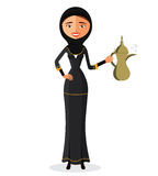 Muslim woman in a hijab and waving her hand isolate on white background.Vector Illustration. Stock Image