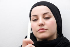 Muslim woman illness Royalty Free Stock Photography