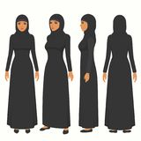 Muslim woman illustration, vector arab girl character,  saudi cartoon female, front, side and back view. Of islamic person Royalty Free Stock Photo