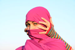 Muslim woman looking and hands Royalty Free Stock Photo